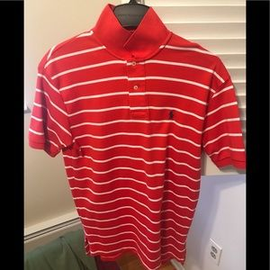 Red and white striped short sleeve polo